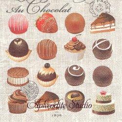 25cm 廃盤 AU CHOCOLAT プチチョコレート 1枚 バラ売り ペーパーナプキン デコパージュ用 MICHEL DESIGN WORKS