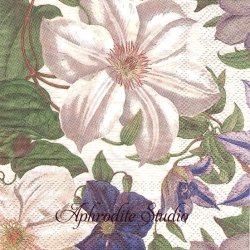 25cm 廃盤 CLEMATIS クレマチスの花 1枚 バラ売り ペーパーナプキン デコパージュ用 MICHEL DESIGN WORKS