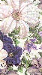 33x40cm 廃番 CLEMATIS クレマチスの花 1枚 バラ売り ペーパーナプキン デコパージュ MICHEL DESIGN WORKS