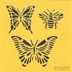 【蝶と蜂 バタフライ】 ステンシルシート♪ 16cm角 テンプレート エンボス ITD Collection