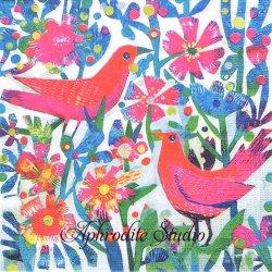Recife 版画 ピンクの鳥と花 Este MacLeod 1枚 バラ売り 33cm ペーパーナプキン デコパージュ用 紙ナプキン ppd