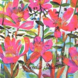 Cali 版画 ピンクの花 Este MacLeod 1枚 バラ売り 33cm ペーパーナプキン デコパージュ用 紙ナプキン ppd