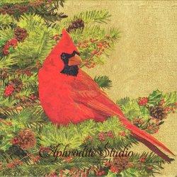 Yuletide Cardinal ゴールド 赤い鳥 クリスマス お正月 Two Can Art 1枚 バラ売り 33cm ペーパーナプキン デコパージュ用 紙ナプキン ppd