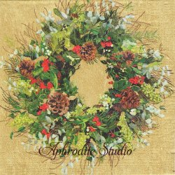 Yuletide Wreath ゴールド クリスマスリース Two Can Art 1枚 バラ売り 33cm ペーパーナプキン デコパージュ用 紙ナプキン ppd