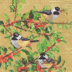 Yuletide Chickadees ゴールド 小鳥とひいらぎ クリスマス Two Can Art 1枚 バラ売り 33cm ペーパーナプキン デコパージュ用 紙ナプキン ppd