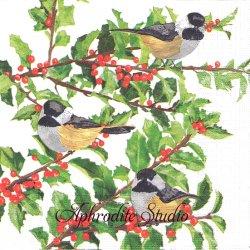 Yuletide Chickadees ホワイト 小鳥とひいらぎ クリスマス Two Can Art 1枚 バラ売り 33cm ペーパーナプキン デコパージュ用 紙ナプキン ppd