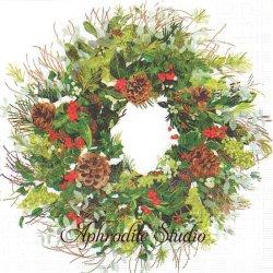 Yuletide Wreath ホワイト クリスマスリース Two Can Art 1枚 バラ売り 33cm ペーパーナプキン デコパージュ用 紙ナプキン ppd