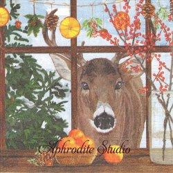 Hearth Time Deer 窓辺のトナカイ 秋 Two Can Art 1枚 バラ売り 33cm ペーパーナプキン デコパージュ用 紙ナプキン ppd