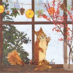 Hearth Time Squirrel 窓辺のリス 秋 Two Can Art 1枚 バラ売り 33cm ペーパーナプキン デコパージュ用 紙ナプキン ppd