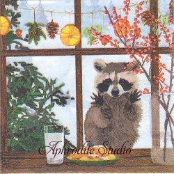 25cm Hearth Time Squirrel 窓辺のアライグマ 秋 Two Can Art 1枚 バラ売り ペーパーナプキン デコパージュ用 紙ナプキン ppd