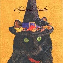 25cm Esmeralda ハロウィンの黒猫 ネコ CAT 秋 Two Can Art 1枚 バラ売り ペーパーナプキン デコパージュ用 紙ナプキン ppd