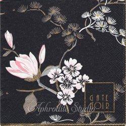 25cm 北欧 グリーン・ゲート・ノワール Amelie アメリ ピンクの花 ブラック 1枚 バラ売り ペーパーナプキン デコパージュ GREENGATE NOIR