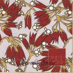 25cm 北欧 グリーン・ゲート・ノワール Florette フローレッテ アール・ヌーボー調の花 ボルドー 1枚 バラ売り ペーパーナプキン デコパージュ GREENGATE NOIR