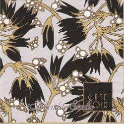 25cm 北欧 グリーン・ゲート・ノワール Florette フローレッテ アール・ヌーボー調の花 ブラック 1枚 バラ売り ペーパーナプキン デコパージュ GREENGATE NOIR