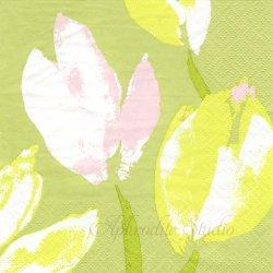 24cm 北欧 ペンティック TULIPPAANI ライトグリーン チューリップ 花 1枚 バラ売り ペーパーナプキン デコパージュ用 PENTIK