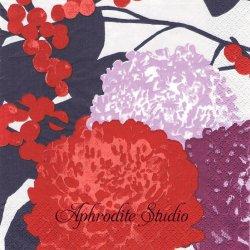 24cm 【新柄】北欧 ペンティック KRYSANTEEMI レッド 菊 花 1枚 バラ売り ペーパーナプキン デコパージュ用 PENTIK