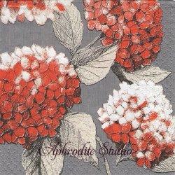 24cm 北欧 ペンティック HORTENSIA オレンジ 紫陽花 1枚 バラ売り ペーパーナプキン デコパージュ用 PENTIK