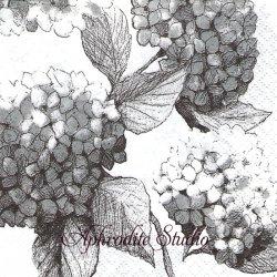 24cm 北欧 ペンティック HORTENSIA グレー 紫陽花 1枚 バラ売り ペーパーナプキン デコパージュ用 PENTIK