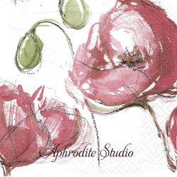 24cm 北欧 ペンティック EDEN ローズピンク ラフな花 1枚 バラ売り ペーパーナプキン デコパージュ用 PENTIK