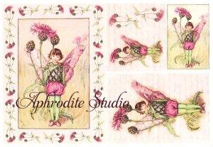 A5 フラワーフェアリーズ アザミの花の妖精 FLOWER FAIRLIES デコパージュシート 1枚 和紙 ライスペーパー