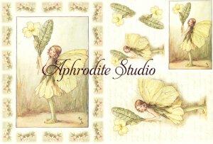A5 フラワーフェアリーズ 黄色い花の妖精 FLOWER FAIRLIES デコパージュシート 1枚 和紙 ライスペーパー