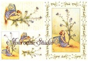 A5 フラワーフェアリーズ 青い花の妖精 FLOWER FAIRLIES デコパージュシート 1枚 和紙 ライスペーパー