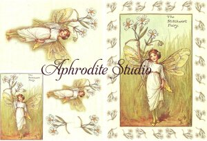 A5 フラワーフェアリーズ ひな菊の花の妖精 FLOWER FAIRLIES デコパージュシート 1枚 和紙 ライスペーパー