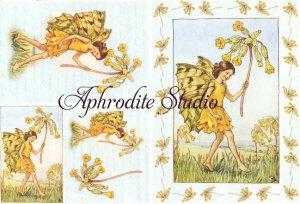A5 フラワーフェアリーズ 黄色い野の花の妖精 FLOWER FAIRLIES デコパージュシート 1枚 和紙 ライスペーパー