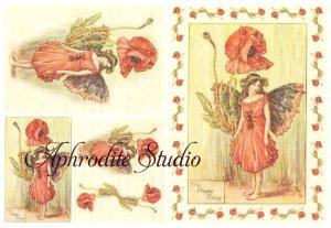 A5 フラワーフェアリーズ 赤いポピーの花の妖精 FLOWER FAIRLIES デコパージュシート 1枚 和紙 ライスペーパー
