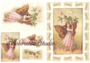 A5 フラワーフェアリーズ 淡いピンクの花の妖精 FLOWER FAIRLIES デコパージュシート 1枚 和紙 ライスペーパー