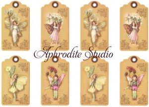 A5 フラワーフェアリーズ 妖精たちのタグ FLOWER FAIRLIES デコパージュシート 1枚 和紙 ライスペーパー