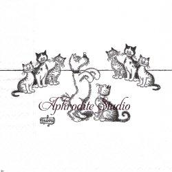 アルバート・ダブアウト DUBOUT DRESSAGE DE CHENS 芸と観客 犬と猫 キャット CAT フランス 1枚 バラ売り 33cm ペーパーナプキン Albert Dubout