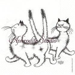 アルバート・ダブアウト DUBOUT LA PIMBECHE おすまし猫 キャット CAT フランス 1枚 バラ売り 33cm ペーパーナプキン Albert Dubout