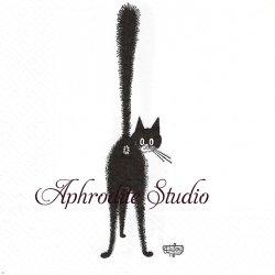 アルバート・ダブアウト DUBOUT TROISIEME AIL 振返り猫 キャット CAT フランス 1枚 バラ売り 33cm ペーパーナプキン Albert Dubout