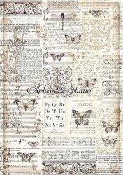 A3 商用販売可能 スタンペリア Butterflies 蝶 バタフライ デコパージュシート 1枚 和紙 ライスペーパー Stamperia