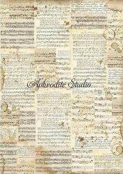 A3 商用販売可能 スタンペリア Music 楽譜 デコパージュシート 1枚 和紙 ライスペーパー Stamperia