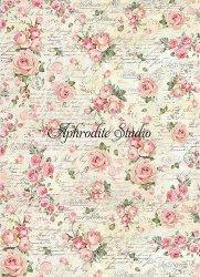 A3 商用販売可能 スタンペリア Rose texture 文字と薔薇 デコパージュシート 1枚 和紙 ライスペーパー Stamperia