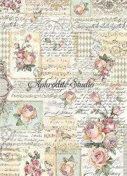 A3 商用販売可能 スタンペリア Roses and manuscripts 薔薇に文字、楽譜 デコパージュシート 1枚 和紙 ライスペーパー Stamperia