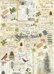 A3 商用販売可能 スタンペリア Winter Botanic 冬の風景 クリスマス デコパージュシート 1枚 和紙 ライスペーパー Stamperia