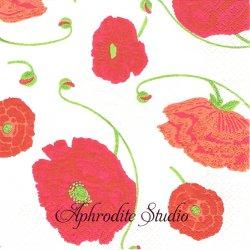 北欧 廃盤 レア柄 アラビア punainen 赤いポピー 花 1枚 バラ売り 33cm ペーパーナプキン ARABIA Suomen Kerta