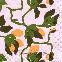 25cm 1パック20枚 北欧 マリメッコ MIELITTY ピンク 木蓮の花 1枚 バラ売り ペーパーナプキン デコパージュ marimekko