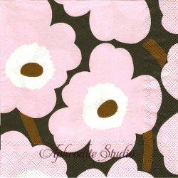 25cm 1パック20枚 北欧 マリメッコ UNIKKO ローズ ウニッコ 小さなケシの花 1枚 バラ売り ペーパーナプキン デコパージュ marimekko