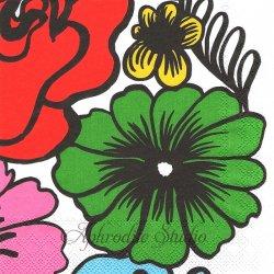 25cm 1パック20枚 北欧 マリメッコ ELAKOON ELAMA グリーン 大きな花 1枚 バラ売り ペーパーナプキン デコパージュ marimekko