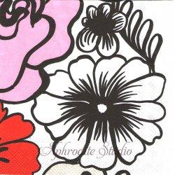 25cm 1パック20枚 北欧 マリメッコ ELAKOON ELAMA ホワイト 大きな花 1枚 バラ売り ペーパーナプキン デコパージュ marimekko