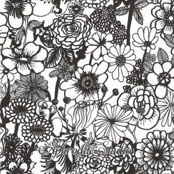 25cm 1パック20枚 北欧 マリメッコ SEPPELEKUKAT モノクロの花 1枚 バラ売り ペーパーナプキン  marimekko
