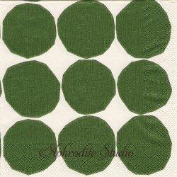 1パック20枚 北欧 マリメッコ KIVET グリーン キヴェット 33cm ペーパーナプキン 紙ナプキン デコパージュ marimekko Ihr