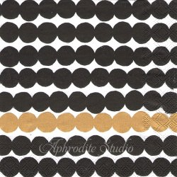 1パック20枚 北欧 マリメッコ RASYMATTO ゴールド 33cm ペーパーナプキン 紙ナプキン デコパージュ marimekko Ihr