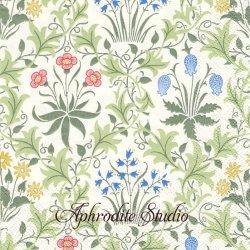V&A ウィリアム・モリス CELADINE グリーン 草花の紋様 J.H. Dearle 1枚 バラ売り 33cm ペーパーナプキン William Morris Ihr