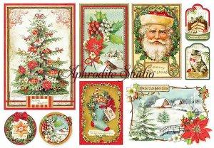 48X33cm 商用販売可能 スタンペリア Christmas Vintage ヴィンテージ・クリスマス デコパージュシート 1枚 和紙 ライスペーパー Stamperia