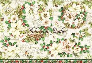 48X33cm 商用販売可能 スタンペリア Garland and flowers クリスマスのガーランドと花 デコパージュシート 1枚 和紙 ライスペーパー Stamperia